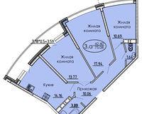 3 комнатная квартира 75,08 кв. м