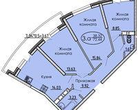3 комнатная квартира 72,44 кв. м